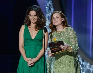 Tina Fey and Amy Poehler onstage at the 68th Primetime Emmy Awards in Los Angeles