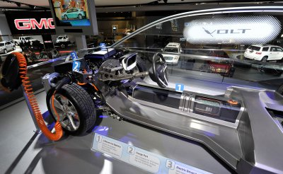Power Train of Chevy Volt displayed at the 2011 NAIAS in Detroit