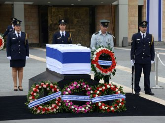 Ariel Sharon Coffin Lies In State At Knesset, Jerusalem