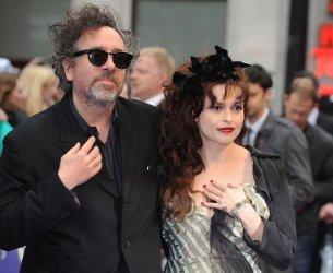 "Tim Burton and Helena Bonham Carter attend the European premiere of ""Dark Shadows"" in London."