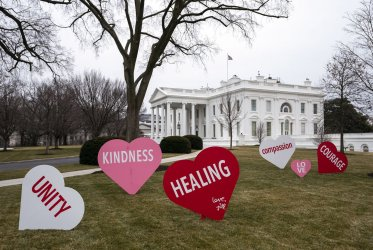 The White House is Decorated for Valentine's Day in Washington, DC