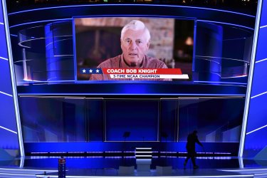 Coach Bobby Knight speaking at the RNC in Cleveland