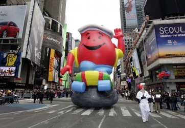 The Kool-Aid balloon floats down the parade route at the Macy's 84th Annual Thanksgiving Day Parade in New York