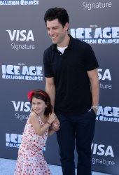 """Max Greenfield and duaghter Lily attend the """"Ice Age: Collision Course"""" premiere in Los Angeles"""