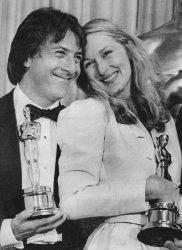 Actor Dustin Hoffman and actress Meryl Streep receive Oscars