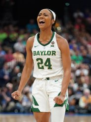 Baylor's Chloe Jackson celebrates in the NCAA Women's Basketball Championship
