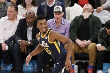 Utah Jazz Donovan Mitchell reacts after scoring a basket