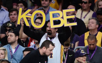 Fans celebrate Kobe Bryant's final game as a Laker in Los Angeles