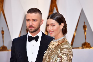 Justin Timberlake and Jessica Biel arrive for the 89th annual Academy Awards in Hollywood
