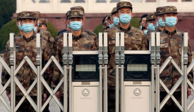 Chinese Soldiers Stand in Formation in Beijing, China