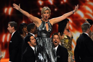 Host Jane Lynch performs at 63rd Annual Primtime Emmy Awards in Los Angeles