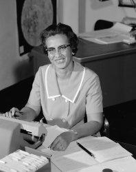 Mathematician Katherine Johnson at work