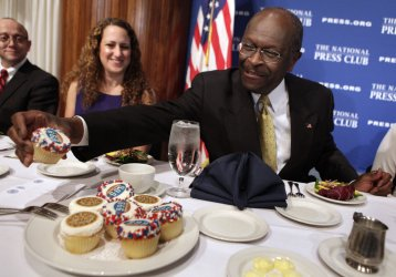 Herman Cain addresses a National Press Club luncheon