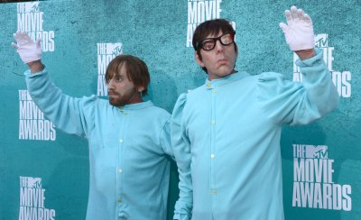 Dan Auerbach and Patrick Carney arrive at the 2012 MTV Movie Awards in Universal City, California