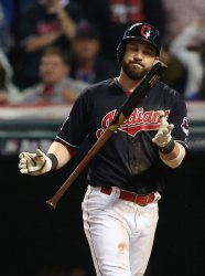 Indians' Jason Kipnis strikes out in 9th inning during World Series game 7