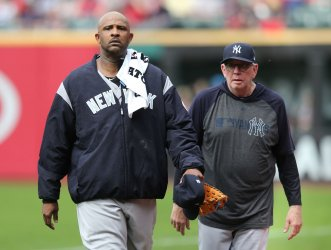 Yankees Sabathia walks to the dugout prior to game against the Indians