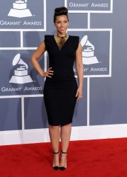 Alicia Keys arrives at the 54th annual Gramy Awards in Los Angeles
