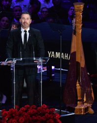 Jimmy Kimmel speaks at the Kobe and Gianna Bryant memorial ceremony in Los Angeles