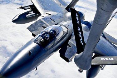 A F-15 refuels over Alaska