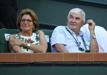 Lynette and Robert Federer attend the BNP Paribas Open at Indian Wells