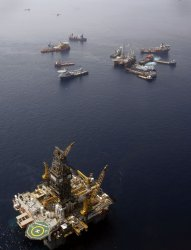 Work boats surround relief well at site of BP Deepwater Horizon oil spill