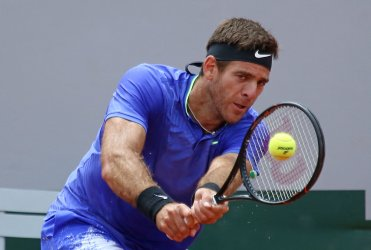 Juan Martin Del Potro plays his third round match at the French Open