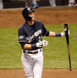 Brewers' Yelich strikes out against Dodgers in NLCS Game One