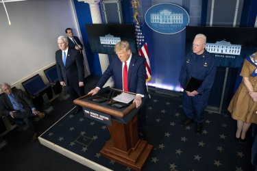 President Trump and the Coronavirus Task Force hold a briefing at the White House
