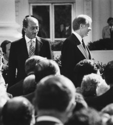 Anwar Sadat and Jimmy Carter during the Peace Treaty signing
