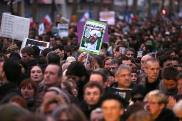Mass rally after terror attacks in Paris