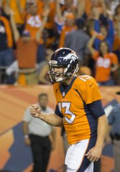 Broncos QB Siemian celebrates win in Denver