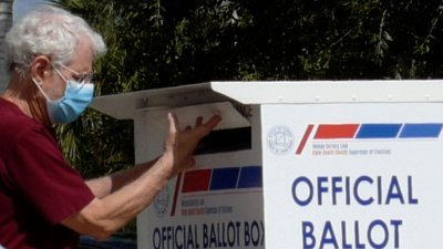 Florida Voters Use Mail-In-Ballot Drop Bos in West Palm Beach,Florida