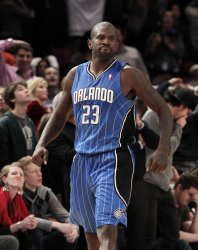 Orlando Magic Jason Richardson reacts after hitting a 3-point shot at Madison Square Garden in New York