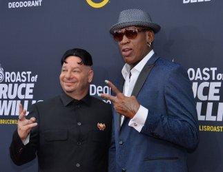 "Jeff Ross and dennis Rodman attend the Comedy Central  ""Roast of Bruce Willis"" in Los Angeles"