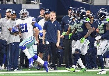 Dallas Cowboys Ezekiel Elliott gets passed the Seattle Seahawks defense for a 44-yard gain