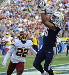 Chargers' Hunter Henry catches a pass for a touchdown  in Carson, California