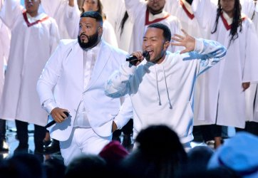 DJ Khaled and John Legend perform during the 19th annual BET Awards in Los Angeles