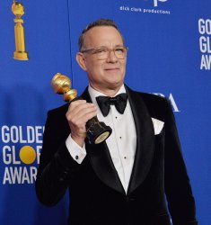 Tom Hanks wins an award at the 77th Golden Globe Awards in Beverly Hills