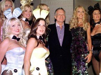Playboy magazine publisher Hugh Hefner partys in New York