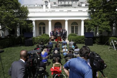 Donald Trump signs PPP Flexibility Act at the White House