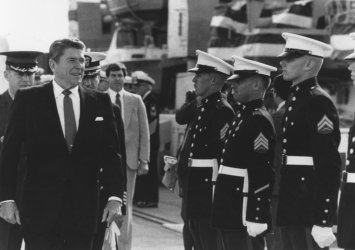 President Reagan Inspects Naval Guard of Honor