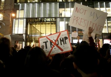 Protestors gather outside at Trump Tower