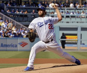 Dodgers starter Kershaw throws in the first inning in NLCS Game Five