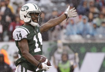 New York Jets Jeremy Kerley reacts after a first down