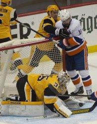 Penguins goaltender Tristan Jarry Covers Puck In Pittsburgh