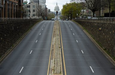 North Capitol Street is empty during the Coronavirus Pandemic in Washington, D.C.