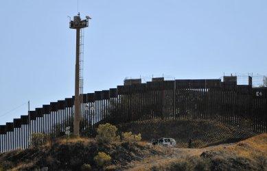 United States, Mexico border fence in Nogalas, Arizona.