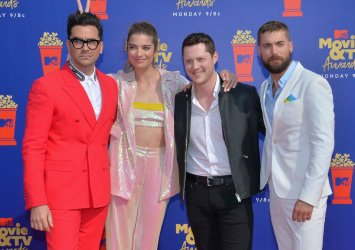 Daniel Levy, Annie Murphy, Noah Reid and Dustin Milligan attend the MTV Movie & TV Awards in Santa Monica, California