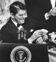 President Reagan Looks at Watch During Speech