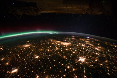 View of Chicago, IL and Aurora Borealis from the International Space Station (ISS)